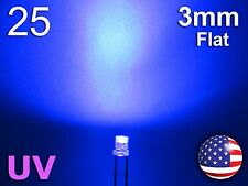 25pcs 3mm UV - Purple Flat LED - Wide Ultra Violet Water Clear Diode - DIY