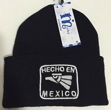 New Hecho En Mexico Cuffed Beanie Black and White