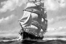 Framed Print - Sailing Ship on the High Seas Pencil Sketch Style (Picture Poster