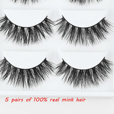 5Pairs 100% Mink Natural Thick False Fake Eyelashes Eye Lashes Makeup Extension
