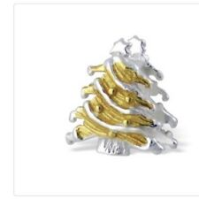 Sterling Silver 925 Gold And Silver Christmas Tree Charm Bead