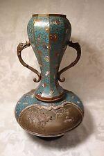 "Stunning Antique Bronze Cloisonne Enamel Large Tall 18.5""  Handle"