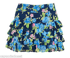 Abercrombie & Fitch Womens Skirt ISABELLE Floral Ruffle Mini Navy Blue S NEW $68