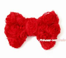 Hot Red Floral Romantic Rose Kid Girl Hair Pin Clip Bow For headband Pettiskirt