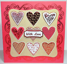 "Kanban Valentines 8x8"" Die Cut Foiled Decoupage Card Making  Kit  Inc Toppers"