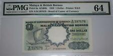 (PL) 1 DOLLAR A/34 397678 1959 MALAYA & BRITISH BORNEO, WATERLOW & SON, PMG 64