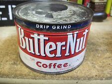 1 LB POUND BUTTER NUT COFFEE CAN 1960's original TIN COUNTRY STORE