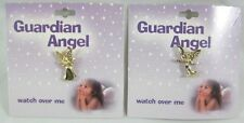 2 Piece Set of Guardian Angel Lapel Pins New on Gift Cards Made in U.S.A. #GA2