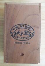 El Rey Del Mundo Wood CIGAR Box Vtg Robustos Handmade Honduras Dovetail Joint