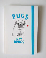 Pickle Parade A5 NOTEBOOK Pugs Not Drugs JOURNAL Elastic HOTCHPOTCH LINED PAGES