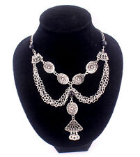 Gypsy Silver Tassel Multi Layers Coins Statement Choker Necklace #N2063
