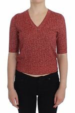 NWT $880 DOLCE & GABBANA Red Wool Tweed Short Sleeve Sweater Pullover IT38 / US4