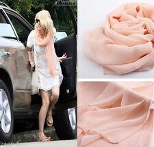 Women's Fashion Pink Georgette Chiffon Soft long Beach Scarf Shawl Wraps