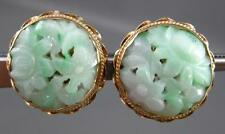 ANTIQUE LARGE 14KT YELLOW GOLD AAA JADE FLORAL FILIGREE CLIP ON EARRINGS #20218