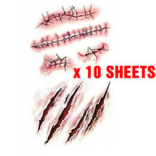 10 Sheets x Halloween Waterproof Temporary Scar Bleeding Wounds Tattoo Stickers