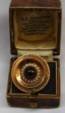 MAGNIFICENT 19C VICTORIAN FRENCH 14K, ROSE GOLD PEARL GARNET BROOCH