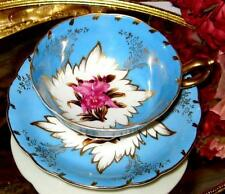 Royal Sealy China PINK ORCHIDS BLUE & GOLD FOOTED TEA CUP AND SAUCER