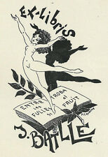Erotismo danza ex libris Paul Morvan/batlle Erotic nude Woman dancer 1948
