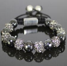 Damen Shamballa Armband/Armreif,10mm grau/schwarz Zirkon Kugeln,verstellbar,Neu