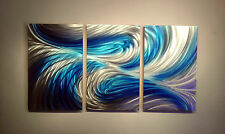 Abstract Metal Wall Art- Contemporary Modern Decor Original -  Echo 3 Blues 47""