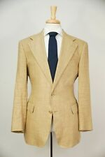 $1695 POLO RALPH LAUREN by CORNELIANI Tan Silk & Linen Herringbone Jacket 40 R