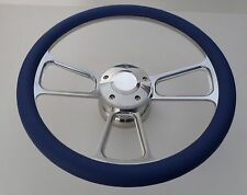"Royal Blue Half Wrap 14"" BILLET Steering wheel kit with Hub adaptor +Horn Button"