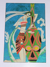 Hand Painted Lacquer Portrait Wall Art Painting Woman w String Instrument 12 x 8