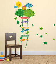 Wall Stickers Nursery Kids Room Green Ladder Tree Growth Height Chart Sticker