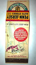 """RARE OLD Vintage """"PENN-JERSEY Auto Stores Inc."""" matchbook.MADE IN USA"""