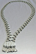 Artisan hand-beaded tri-color long necklace with fringe
