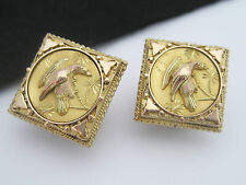 Rare Antique Victorian Art Nouveau era 14K Gold Cufflink Buttons Bird Aesthetic