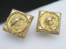 Rare Antique Victorian Art Nouveau era 14K Gold Cufflink Buttons Bird Aesthetic