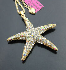 A503  Betsey Johnson Crystal Fashion Starfish Pendant Sweater Chain Necklace