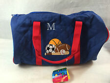 Stephen Joseph Monogram M Blue Quilted Duffle Bag Gym Bag Kids Sport Bag