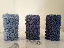 THREE Rose Pilllar Love Candles Unscented and Hand Made Candles Home Made Candle