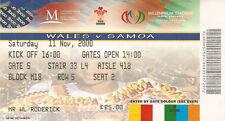 Le Pays de Galles V Samoa (Rugby Union internationale du 11.11.2000) utilisé billet match