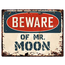 PBMR0748 Beware of MR. MOON Chic Plate TIN Sign Home Decor Funny Gift Ideas