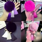 Soft Cute Rabbit Fur Ball PomPom Cell Phone Car Pendant Handbag Key Chain Ring