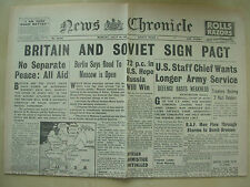 NEWS CHRONICLE WWII NEWSPAPER JULY 14th 1941 BRITAIN AND SOVIET SIGN PACT
