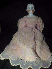 """ANTIQUE CHINA HEAD DOLL 20"""" T GERMAN HEAD MARKED ON INTERIOR W/ A """"X"""" #7 BACK"""
