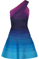 HERVÉ LÉGER Linden Purple & Blue Ombré Bandage A-Line Mini Dress NWT Size Large