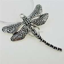12908 5PCS Alloy Vintage Tone Dragonfly Inscet Pendant Charms Jewelry Making