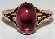 ANTIQUE 15CT ROSE GOLD ALMANDINE GARNET  SINGLE STONE  RING SIZE O
