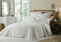 White Luxury Embroidered King Size Quilted Bedspread Throw and Pillowshams New