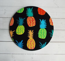 Round Computer Mouse Pad / Mat - pineapples on black