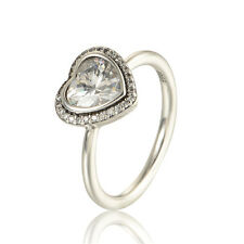 925 Solid Sterling Silver Cubic Zirconia Heart Solitaire Ring Band Size 7.5 / 56