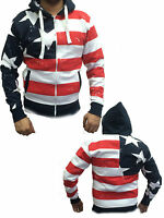 NEW MENS USA ZIP UP HOODED SWEATSHIRT AMERICAN STYLE HOODIE ZIPPER SIZE S-XL