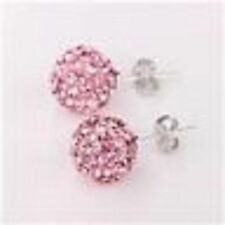 SPARKLY SHAMBALLA PINK  STUD EARRINGS WITH AUSTRIAN CRYSTAL DISCO BEAD-UK-SELLER