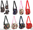 Ladies Girls Floral Oilcloth Design Side Bag Shoulder Bag Cross Body Work Flight