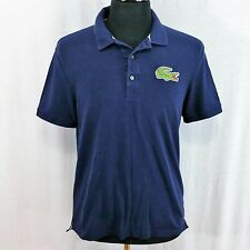 Lacoste Polo Shirt Big Croc Blue Short Sleeve Rugby Golf Green Logo Mens Sz 5